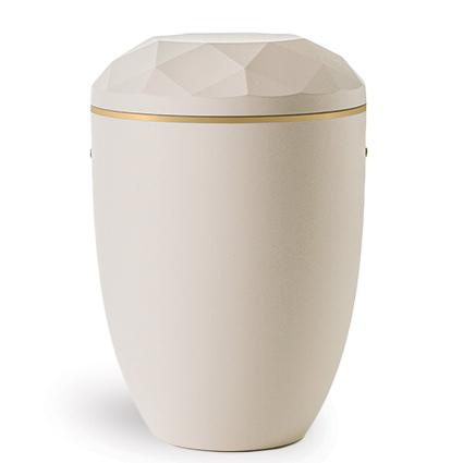 Hvid urne med delvist facetslebet låg og en enkel guldstreg langs låget