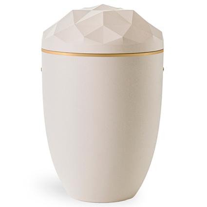Hvid urne med facetslebet låg og en enkel guldstreg langs låget
